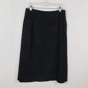 Co & Eddy Black Leather-Suede Maxi Skirt